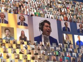"""Una variedad de artistas virtuales utilizan su talento vocal e instrumental en el video de """"Nearer, My God, to Thee"""". Crédito: captura de pantalla del video de Vocal Point"""