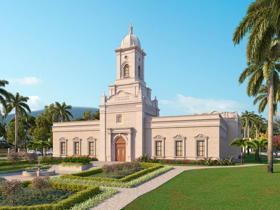 Una representación del Templo de San Pedro Sula Honduras.