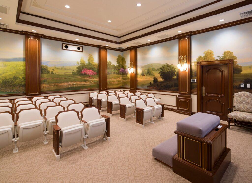 Una sala de instrucción en el Templo de Asunción Paraguay. Crédito: Intellectual Reserve, Inc.